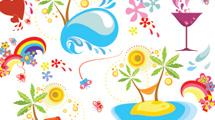 Ilustraciones variadas relacionadas al verano, la playa y las vacaciones