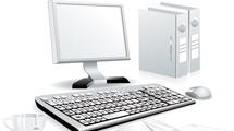 Imagen de una computadora en 3D con elementos de escritorio y café