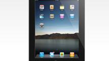 iPad realista con fondo de montañas