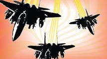 Jets militares en cielo naranja