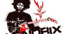 Jimi Hendrix en negro y rojo