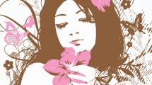 Joven rodeada de flores rosas