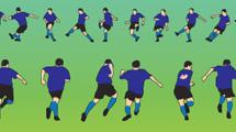 Jugadores de fútbol con camiseta azul
