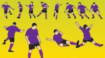 Jugadores de fútbol con camiseta violeta