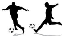 Jugadores de fútbol practicando