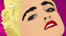 Madonna con cabello rubio corto