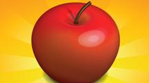 Manzana realista roja en fondo amarillo