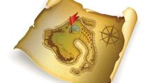 Mapa del tesoro con bandera