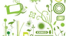 Marcos verdes, formas y elementos variados