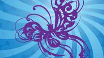 Mariposa tribal violeta
