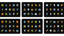 Mini iconos de colores fuertes