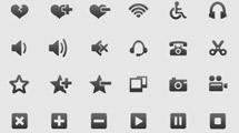 Mini iconos en gris oscuro