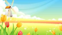 Molino de viento con tulipanes de color