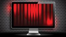 Monitor con telón rojo