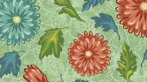 Motivo con flores y hojas