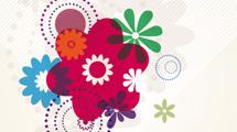 Motivo de flores sobre fondo con rayas