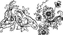 Motivo floral elaborado en negro