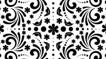 Motivo floral en blanco y negro con adornos