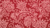 Motivo floral en tonos rojizos con formas ornamentales