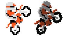 Motociclista pixelado