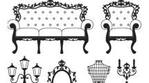 Muebles antiguos en blanco y negro