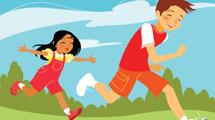Nenes jugando vestidos de rojo
