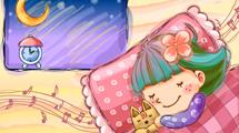 Niña durmiendo con música