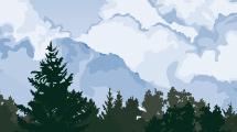 Nubes detrás de árboles