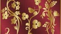 Ornamentos dorados sobre fondo rojo