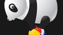 Oso panda con pelota