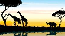 Paisaje africano, con siluetas de árboles, jirafas y elefantes