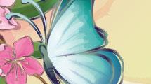 Paisaje con mariposas y flores
