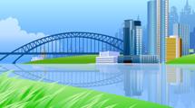 Paisaje con río, puente y edificios altos