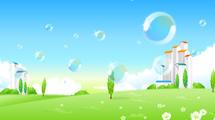 Paisaje de parque con burbujas