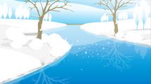Paisaje nevado con detalles