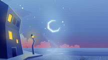 Paisaje nocturno azulado