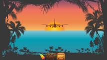 Palmeras y avión