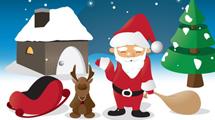 Papá Noel y reno nevados