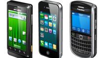 Paquete de smartphones realistas convarios modelos actuales