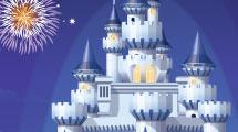 Parque de diversiones con castillo