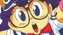 Personaje animé con gorro naranja