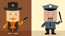 Personajes con formas cuadradas en varios estilos