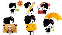 Personajes de cabello negro