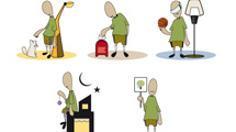 Personajes de remera verde