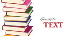 Pila de libros de colores con texto de ejemplo a la derecha