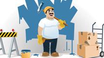Pintor con bigotes y herramientas