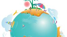 Planeta con islas en verano y palmeras