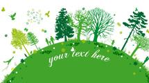 Planeta verde con personas