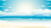 Playa con cielo celeste, gaviotas y sol saliendo
