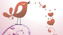 Ramas con aves y corazones